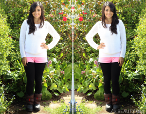 OOTD+White+Jumper+and+Neon+Pink+Hot+Pants