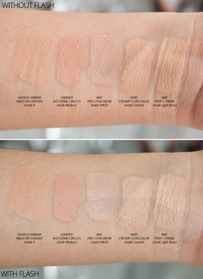 My Top 5 Concealers 2015 - Swatches (with and without flash)