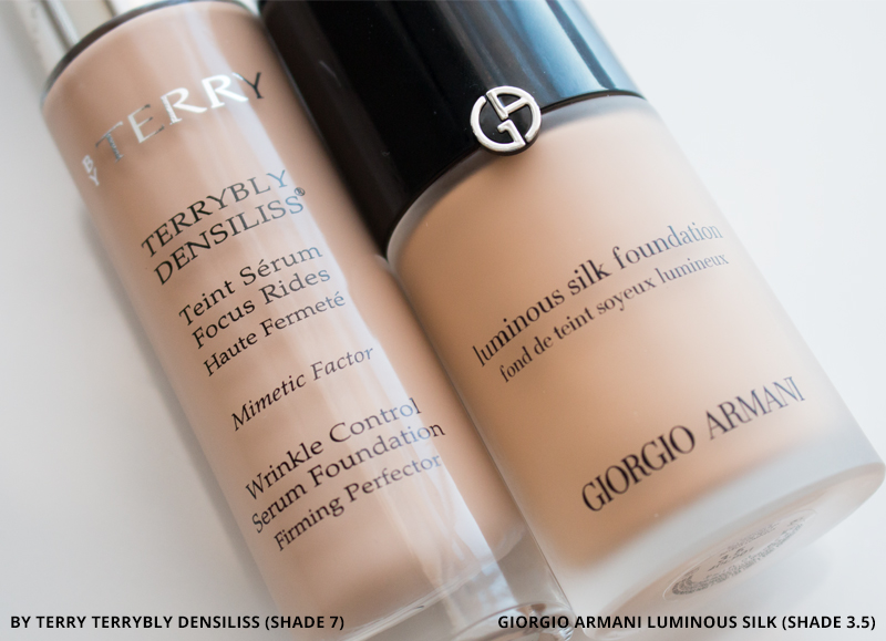 By Terry Terrybly Densiliss Foundation 7 and Giorgio Armani Luminous Silk Foundation 3.5