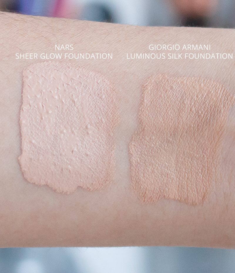 Nars Sheer Glow vs Giorgio Armani Luminous Silk Foundation Comparison Video Review