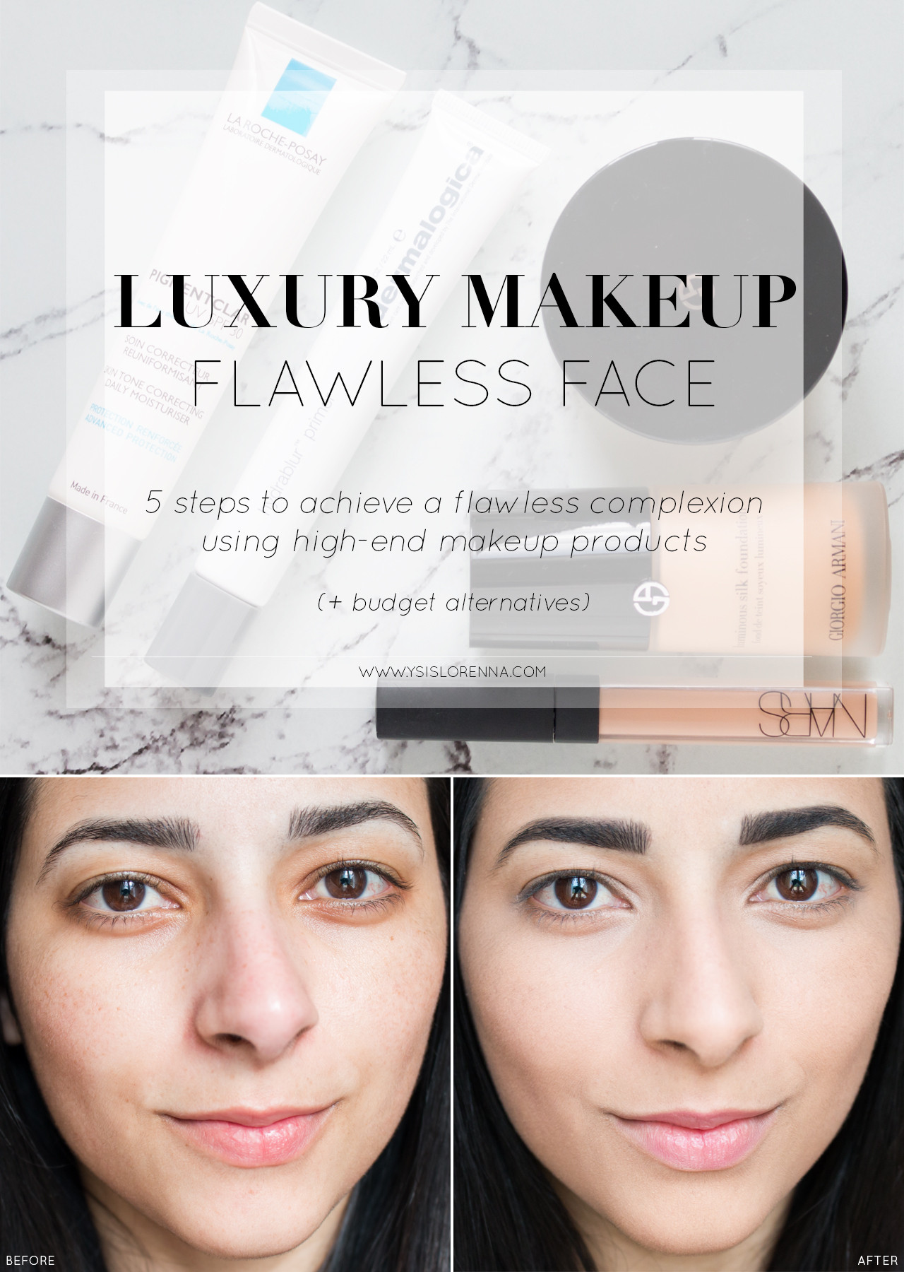 How To: Flawless Face with Luxury Makeup + Budget Alternatives - www.ysislorenna.com