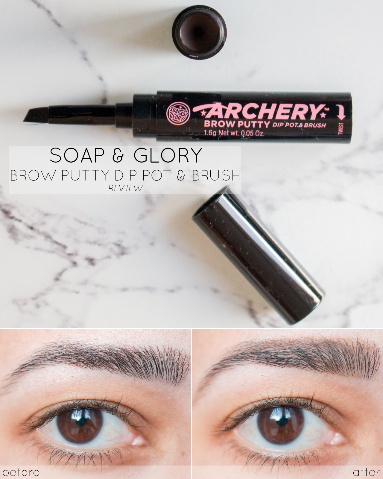 Soap and Glory Archery Brow Putty Dip Pot & Brush Review, Before and After, Swatch - www.ysislorenna.com