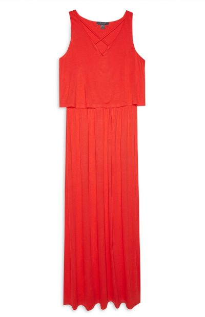 Red Double Layer Maxi Dress